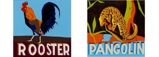 Bob_and_Roberta_Smith_2_Animals_roosterandpangolin