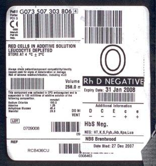 eticheta transfuzie uk